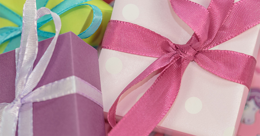 Wrapped gifts with bows