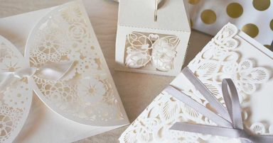 Bridal shower cards and gifts on a table.
