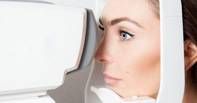 Woman getting an eye test done