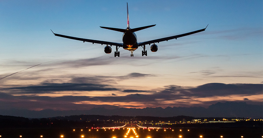 Plane taking off from runway