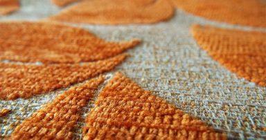 Orange and white carpet