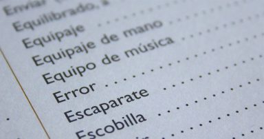 Spanish words on paper