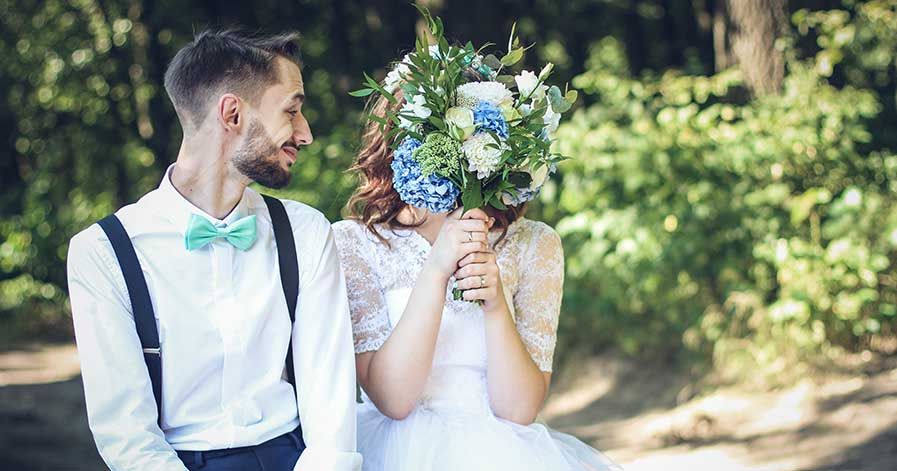 A bride and groom at their wedding