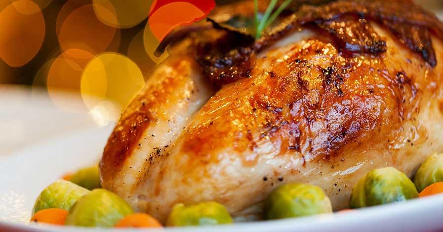 A turkey dinner set on a table