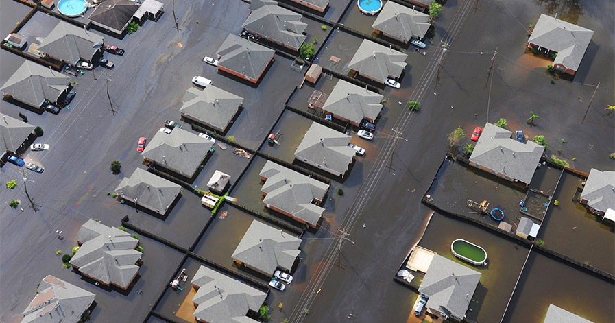 Flooded neighborhood from above
