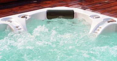 A hot tub running its jets