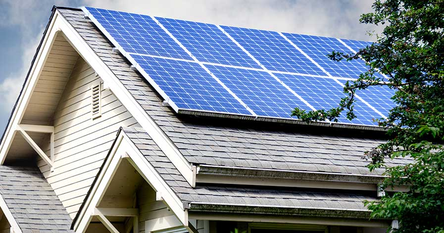 A house with solar panels installed
