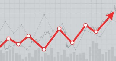 A dividend stock chart showing an upwards progression