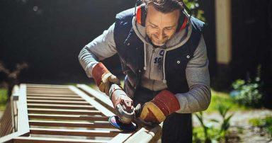 A man doing woodwork