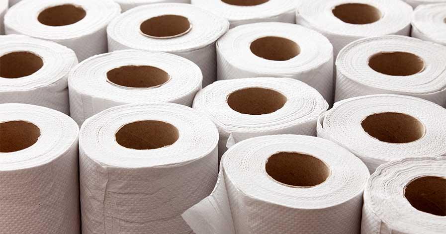 Rolls of paper towels.