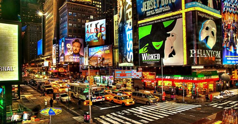 The intersection of Broadway in New York City.